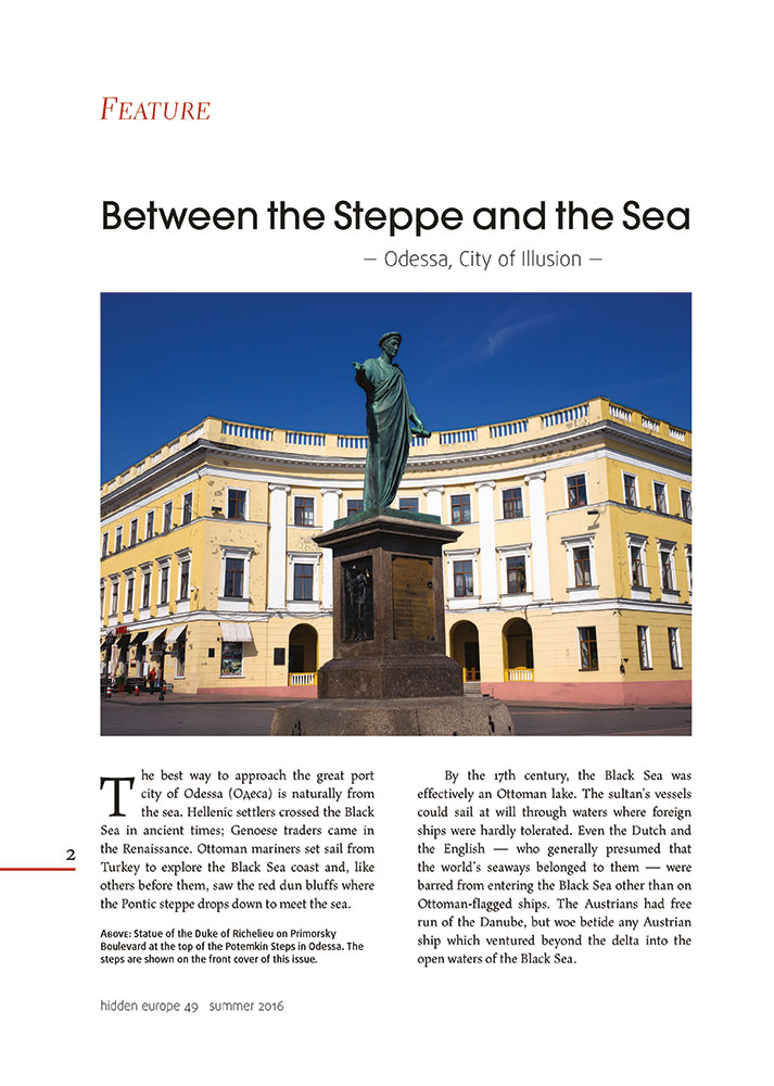 sample page of latest issue of hidden europe magazine